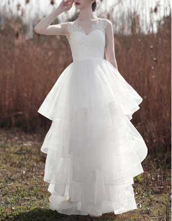 Sexy V-neckline Layered Tulle Wedding Dresses with Lace Bodice and Plunging Scoop Back