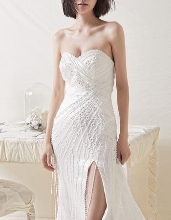 Gorgeous Beading Embroidery Satin Wedding Dresses with High Slit and Fringe