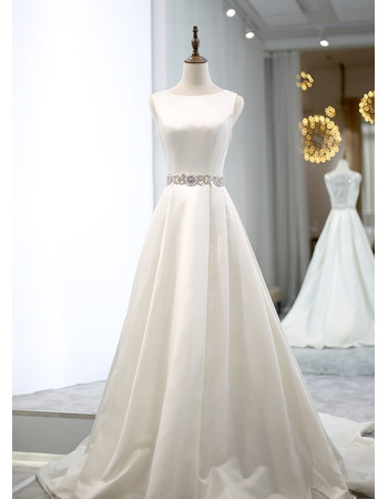 Sexy A-line Satin Wedding Dresses with Crystal Beading Embellished Waistline and Back