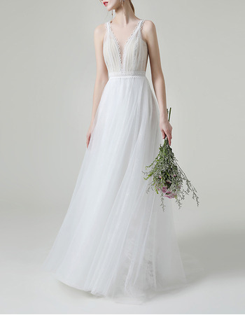 Dramatic V-neckline Tulle Over Lace Wedding Dresses with Illusion Back and Scalloped Detail