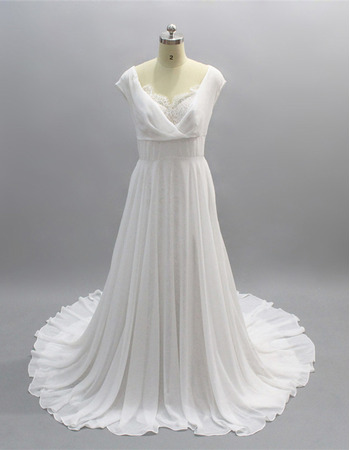 Fashionable A-Line Cowl Neckline Court Train Wedding Dresses with Chiffon Over Lace