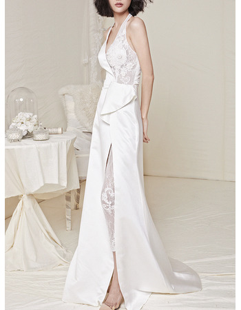 Whimsical Halter-Neck Satin Wedding Dresses with High Slit and Lace Appliques Detail