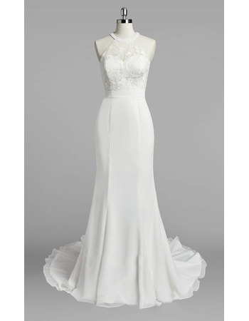 Sexy Beaded Jewel Neckline Chiffon Wedding Dresses with Lace Bodice