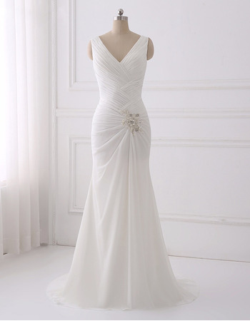 Elegant V-Neck Full Length Chiffon Wedding Dresses with Cowl Back and Crossover Draped Bodice