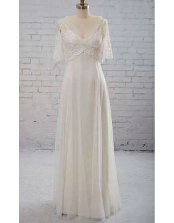 Discount A-Line V-Neck Tull Over Satin Wedding Dresses with Lace Bust and Half Sleeves