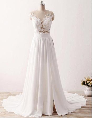 Seductive Illusion Neckline Chiffon Wedding Dresses with Lace Appliques Bust and Split Front