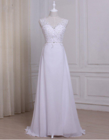 Pretty Beading Appliques White Chiffon Wedding Dresses with Sexy Low Back