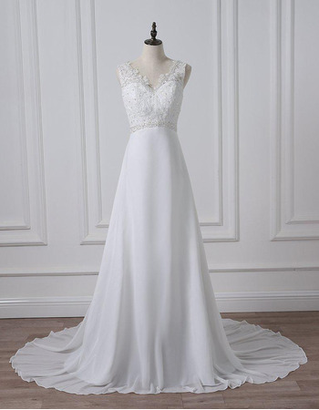 Graceful V-neckline Chiffon Wedding Dresses with Beading Appliques Bodice
