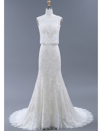 Graceful Round/Scoop Neckline Lace Wedding Dresses with Low Back