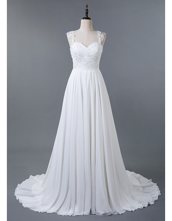 Elegantly A-line Chiffon Wedding Dresses with Floral Applique Bodice and Cross-Back