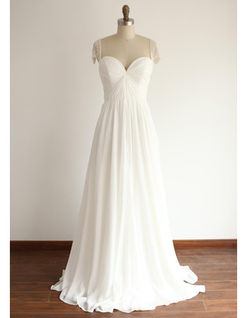 Elegantly A-line Pleated Chiffon Wedding Dresses with Illusion Beaded Cap-sleeves