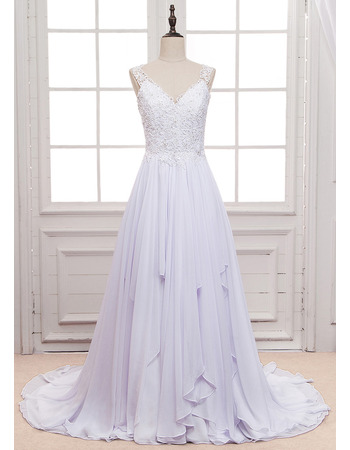 Graceful Beading Appliques Pleated Chiffon Wedding Dresses with Illusion Back and Hanky Hem