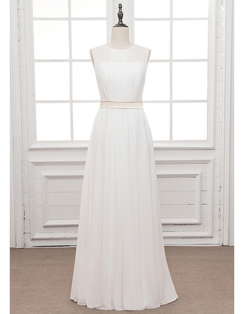 Simple Illusion Neckline Chiffon Wedding Dresses with Keyhole Back and Sash