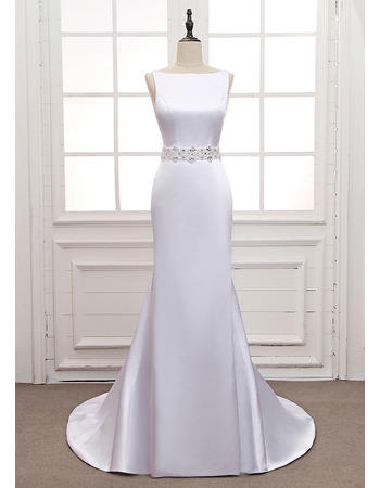 Simple Bateau Neck White Satin Wedding Dresses with Beading Crystal-adorned Waist