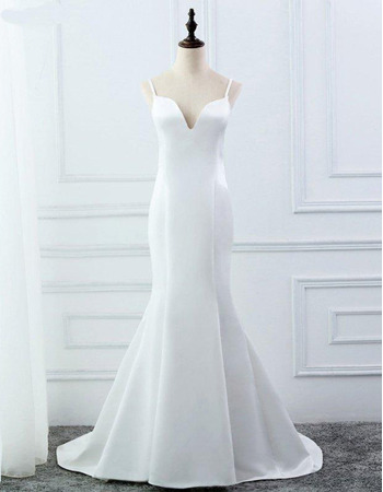 Simple Spaghetti Strap White Satin Wedding Dresses