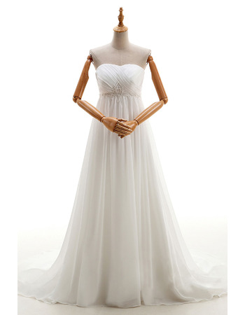 Empire Strapless Chiffon Wedding Dresses with Floral Beaded Waist