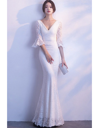 Sexy Beaded Deep V-neck Lace Wedding Dresses with Half Bell Sleeves