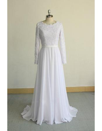 Elegant Appliques Bodice Chiffon Wedding Dresses with Long Sleeves