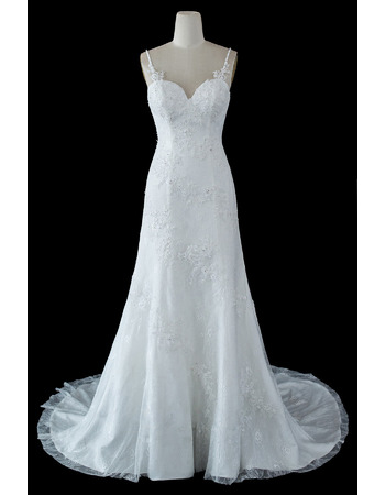 Stunning Slender Straps Lace Wedding Dresses with Beaded Appliques Detail