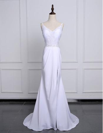Sexy V-neck Spaghetti Straps White Satin Wedding Dresses with Big Bow