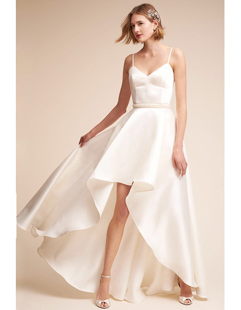 Simple & Cheap Spaghetti Straps Asymmetrical Satin Wedding Dresses with Beaded Waist