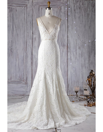 Stunning Low V-neckline Court Train Lace Wedding Dresses