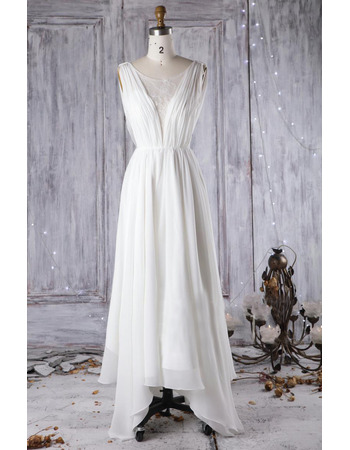 Elegantly Double V-neckline Asymmetrical Hem Chiffon Wedding Dresses with Cowl Back
