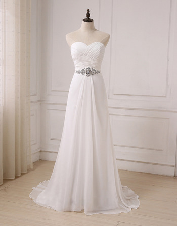 Graceful Sweetheart Pleated Chiffon Wedding Dresses with Rhinestone Detail