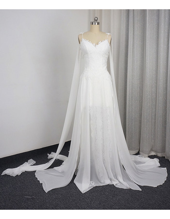 Stylish Spaghetti Straps Chiffon Over Lace Wedding Dresses with Layered Split Skirt