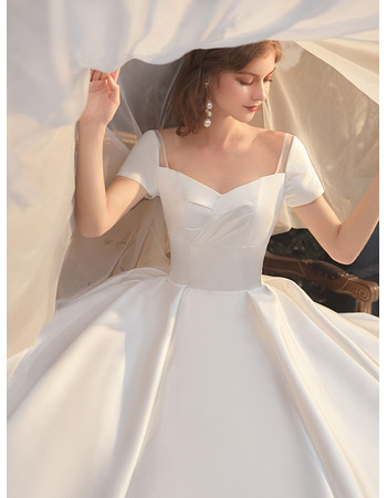 Elegance and Simple Ball Gown Pleated Satin Wedding Dresses with Short Sleeves