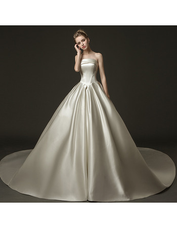 Modern & Simple A-line Strapless Pleated Satin Wedding Dresses with Train