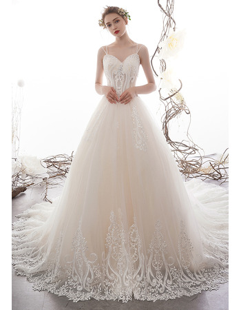 Graceful Beaded Spaghetti Straps Tulle Wedding Dresses with Floral Appliques and Illusion Bodice