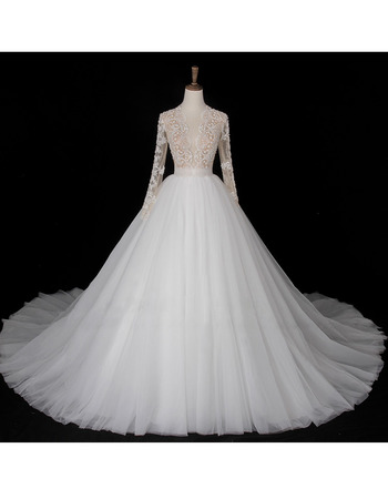 Sophisticated Beading Embellished Bodice Tulle Wedding Dresses with Plunging Sheer Neckline