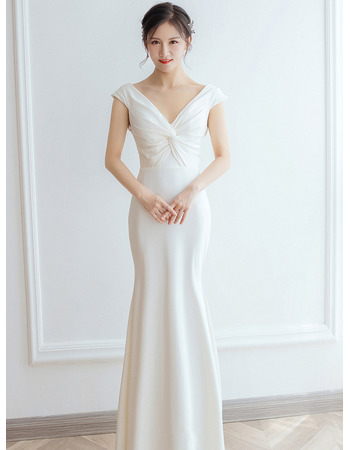 Simple & Sexy Low Back Satin Wedding Dresses with Twist Drape Detail