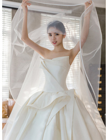 Stunning Ruched Satin Wedding Dresses with Wide Horsehair Edging