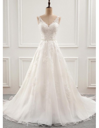 Enchanting Beaded Appliques V-neckline Tulle Wedding Dresses with Open Back