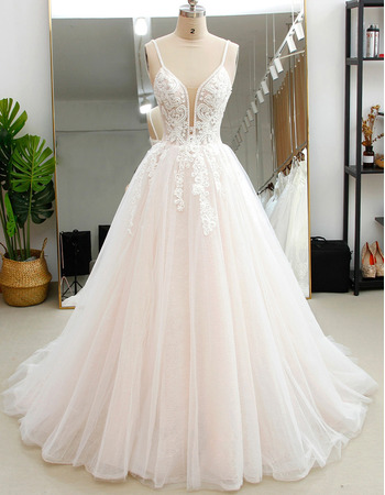 Exquisite Beading Embellished Bodice Tulle Over Lace Wedding Dresses