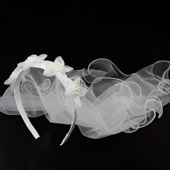 lovely Pearl Floral Holy Communion Flower Girl Tiara Headpiece with Comb Veil