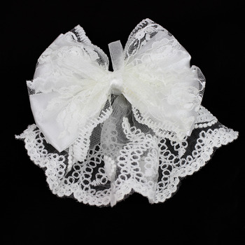 Cute Bow Lace-Trimmed Short Holy Communion Flower Girl Tiara Headpiece with Comb Veil