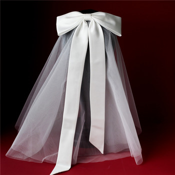 Perfectly Satin Bow Short Holy Communion Flower Girl Tiara Headpiece with Comb Veil