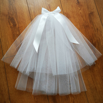 Simple Bow Short Holy Communion Flower Girl Tiara Headpiece with Comb Veil