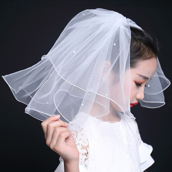 Perfectly Pearl Short Holy Communion Flower Girl Tiara Headpiece with Comb Veil