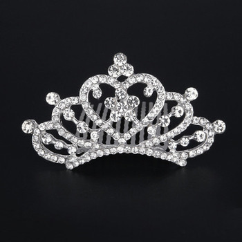 New design Princess Crystals Heart-inspired Silver First Communion Flower Girl Tiara Comb