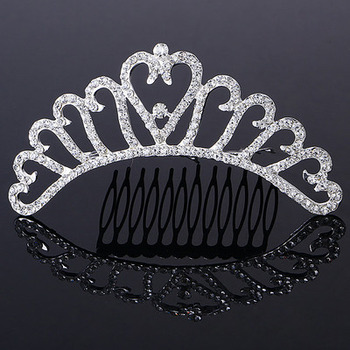Amazing Heart-inspired Crystals Silver First Communion Flower Girl Tiara Comb