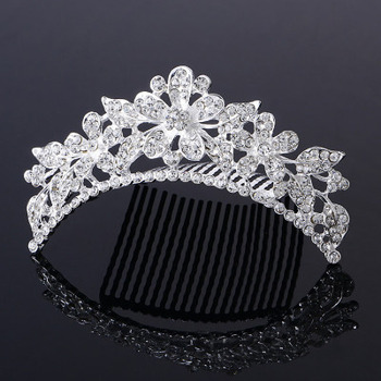 Pretty Crystal Floral and Leaf-inspired Silver First Communion Flower Girl Tiara Comb