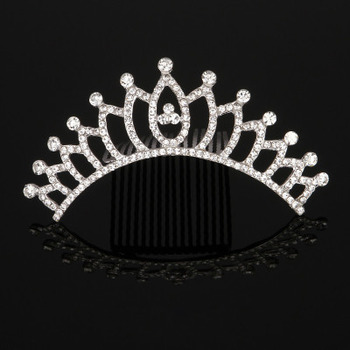 Perfect Elegant Crystal Silver First Communion Flower Girl Tiara Comb
