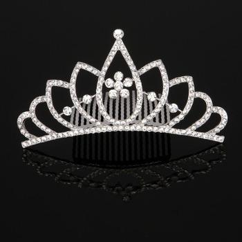 Wonderfully Princess Crystal Silver First Communion Flower Girl Tiara Comb