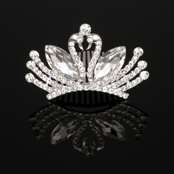 New Design Crystal Swans-inspired Silver First Communion Flower Girl Tiara Comb