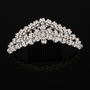 New Design Delicate Crystal Floral Pearl Silver First Communion Flower Girl Tiara Comb