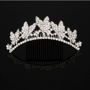 Beautiful Delicate Crystal Floral Pearl Silver First Communion Flower Girl Tiara Comb